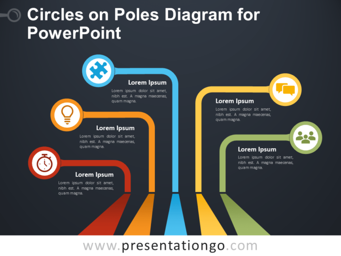 Free Circles on Poles Diagram for PowerPoint - Dark Background