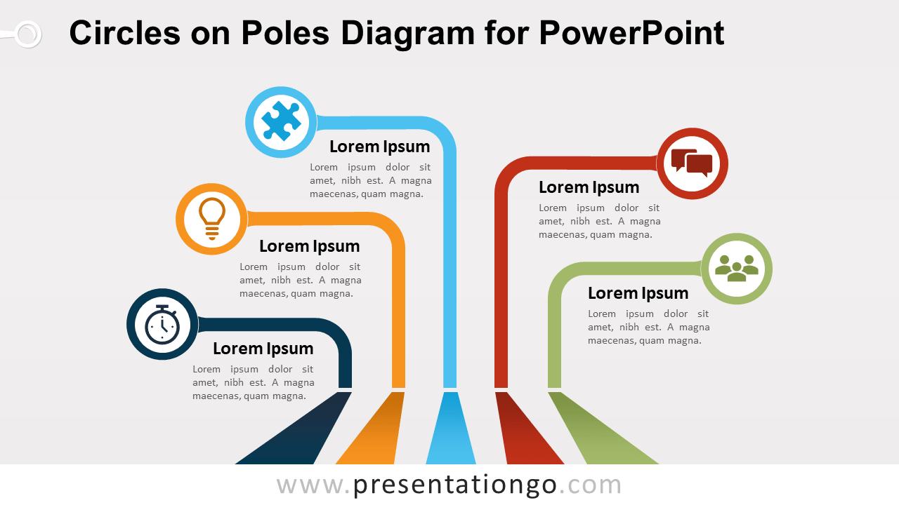 Free Circles on Poles PowerPoint Diagram
