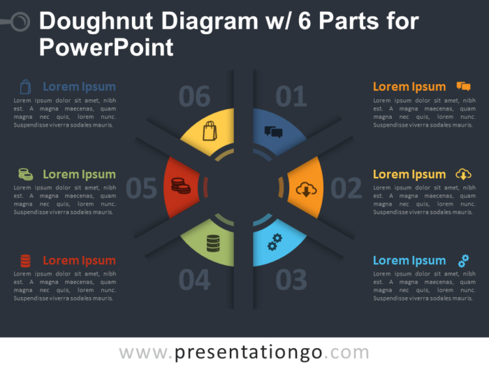 Free Doughnut Diagram with 6 Parts for PowerPoint Template