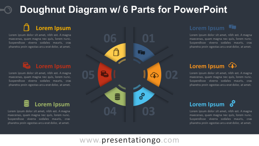 Free Doughnut PowerPoint Diagram with 6 Parts Template