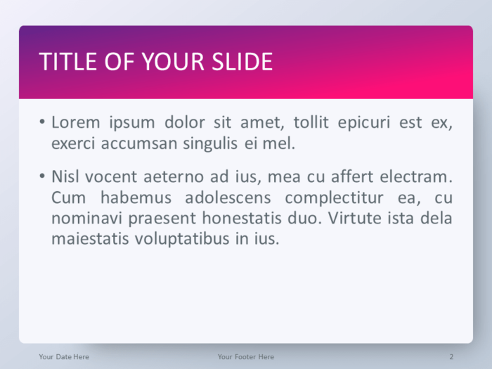 Free Gradient Pink PowerPoint Template - Title and Content