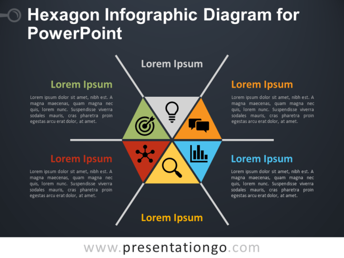 Free Hexagon Infographic Diagram for PowerPoint - Dark Bacground