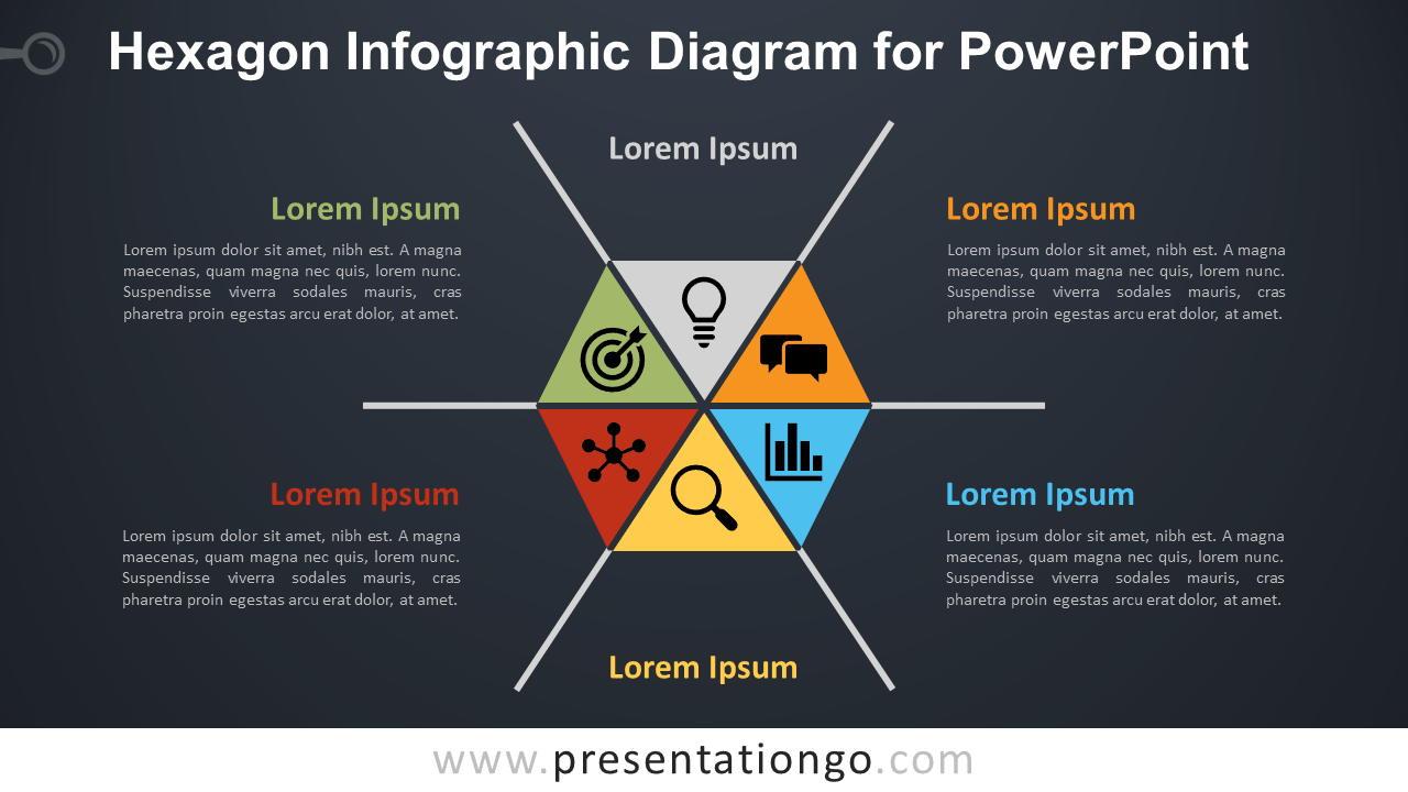 Free Hexagon Infographic PowerPoint Diagram - Dark Background