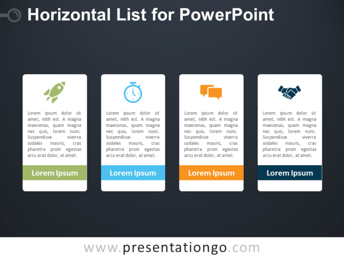 Free Horizontal List for PowerPoint - Dark Background