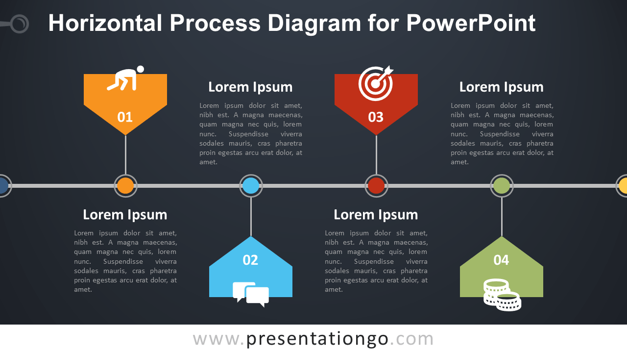 Free Horizontal Process PowerPoint Diagram (Template)