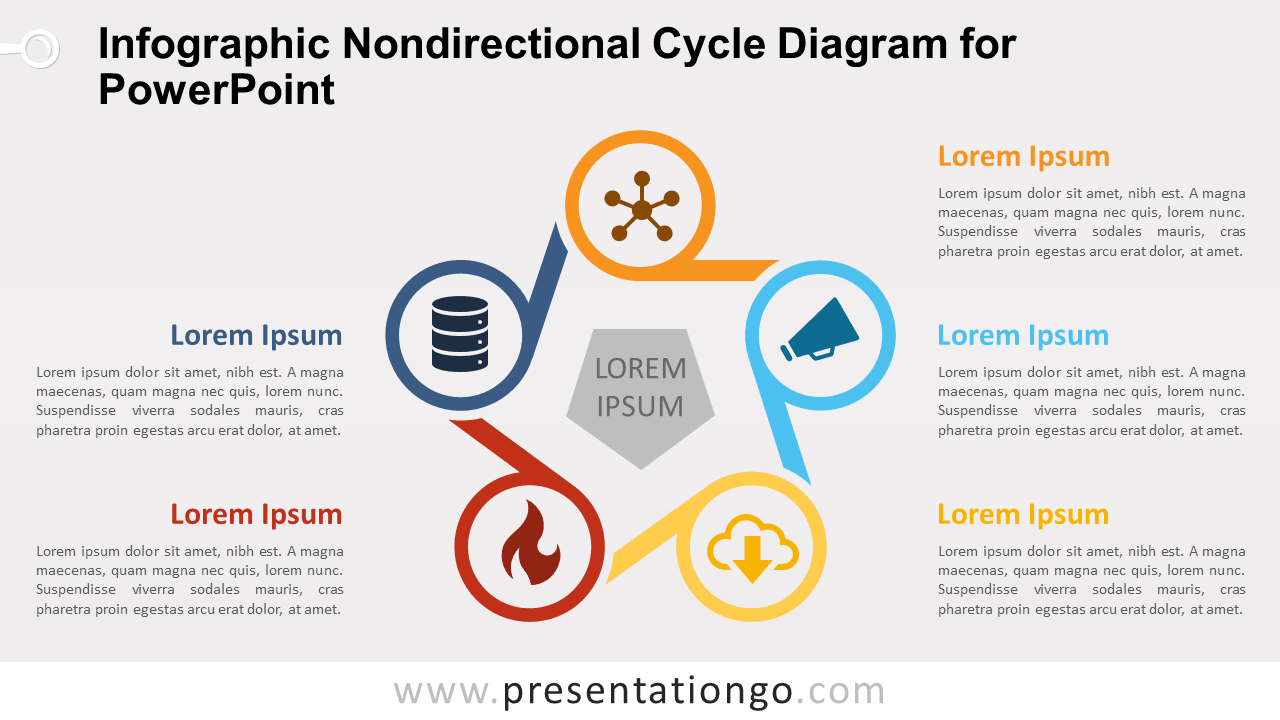 Free Infographic Nondirectional Cycle PowerPoint Diagram