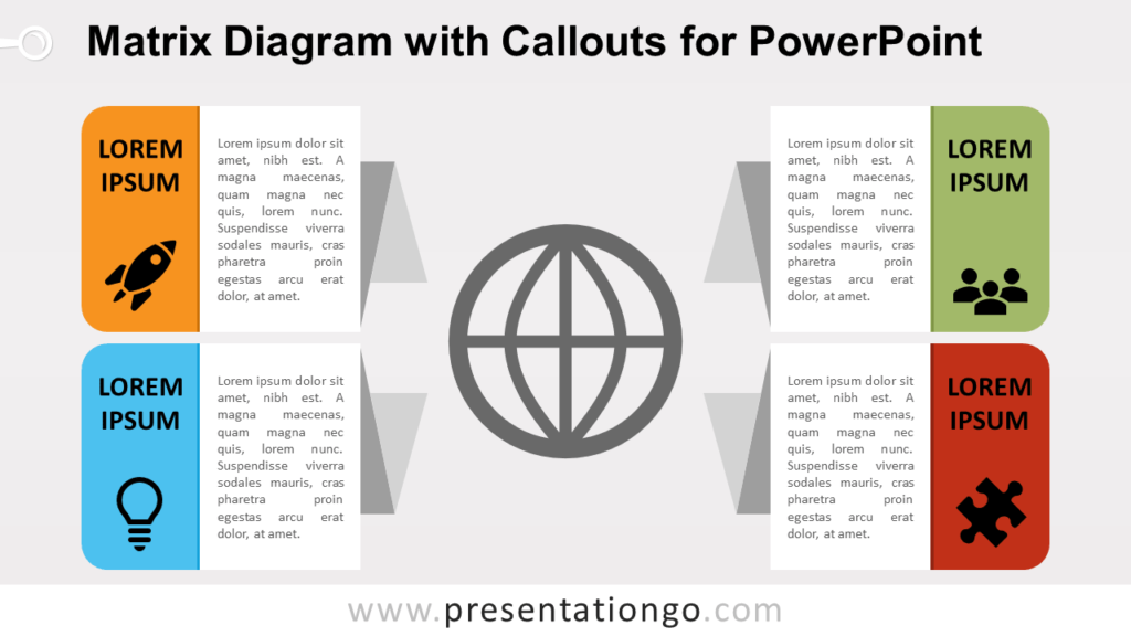 Free Matrix with Callouts PowerPoint Diagram