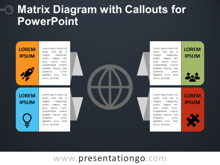 Free Matrix Diagram with Callouts - PowerPoint Template
