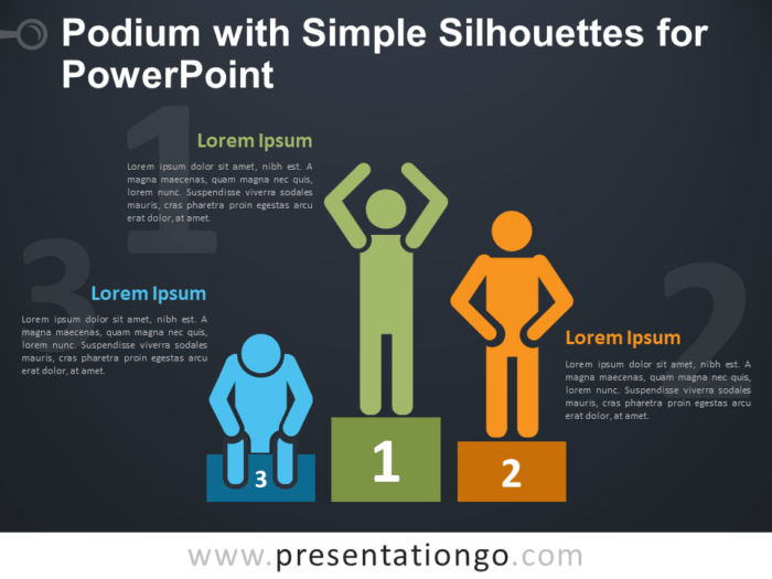 Free Podium with Simple Silhouettes for PowerPoint - Dark Background