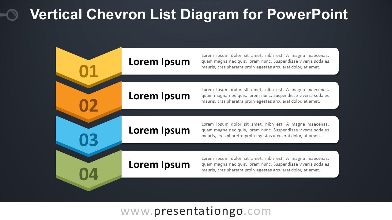 Free Vertical Chevron List for PowerPoint - Dark Background