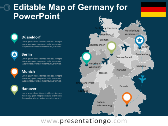 Free Editable Map of Germany for PowerPoint
