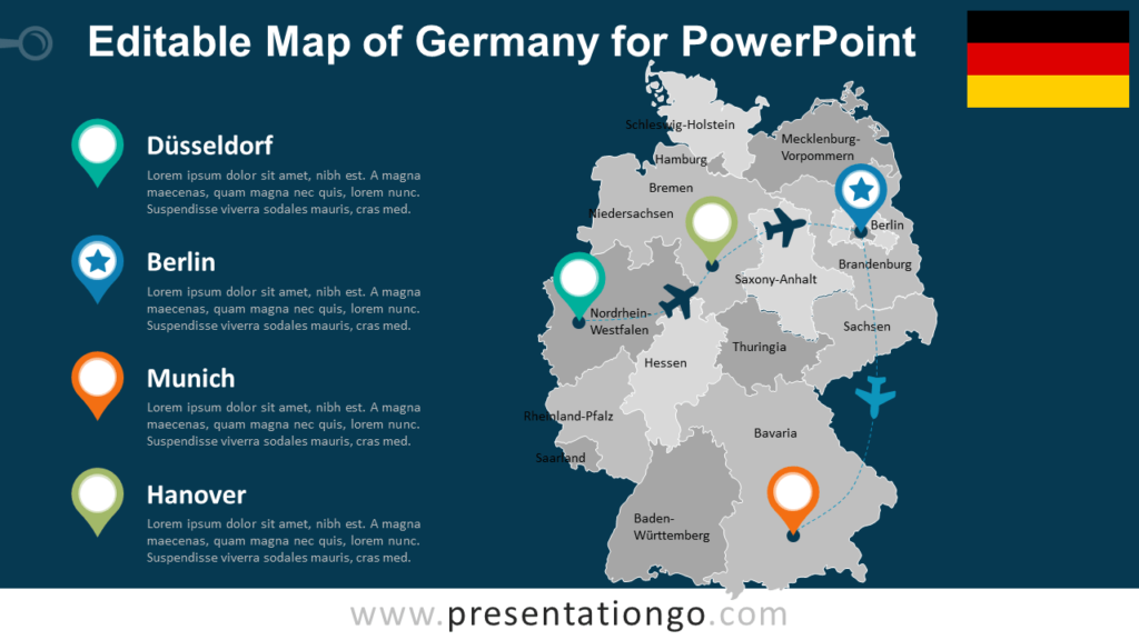 Free Germany Map with States for PowerPoint