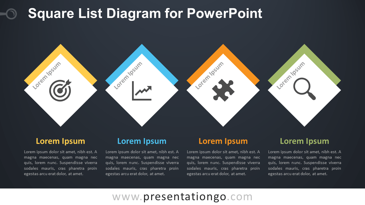 Free Square List PowerPoint Template