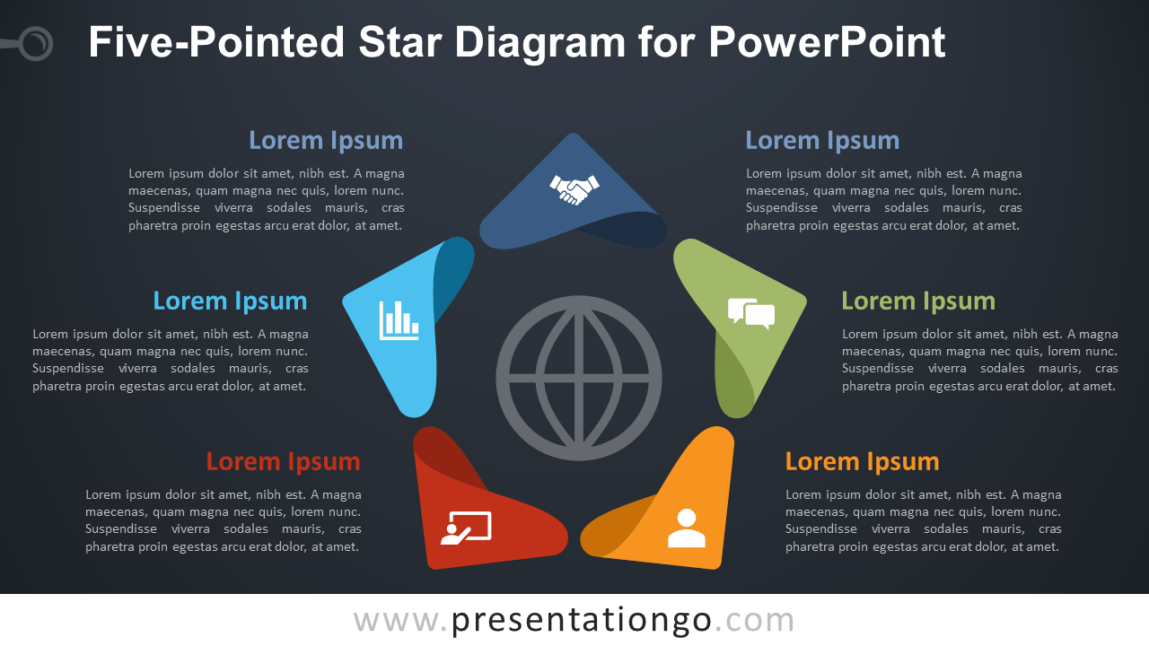 Free Five-Pointed Star for PowerPoint - Dark Background