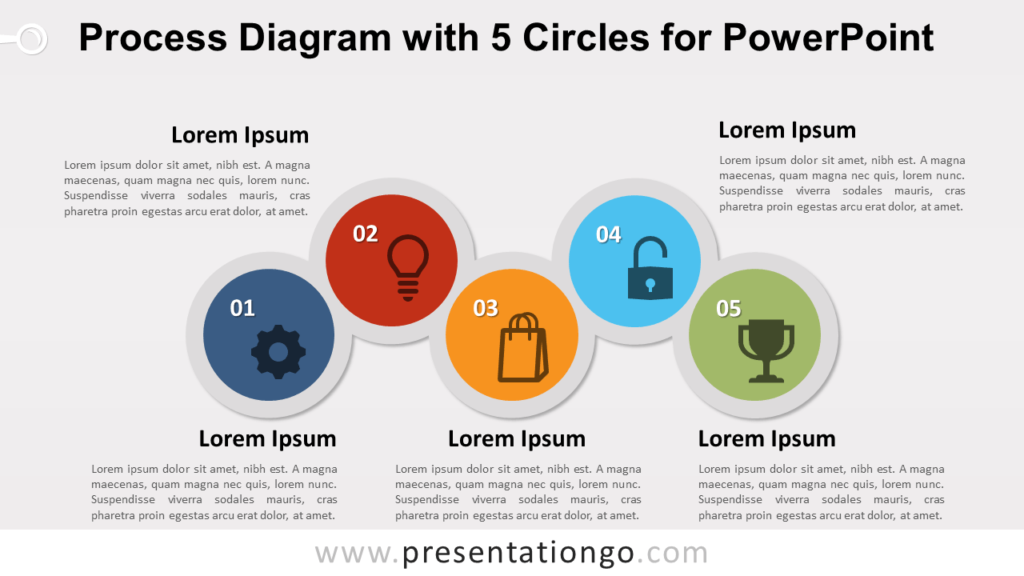 Free Process with 5 Circles for PowerPoint