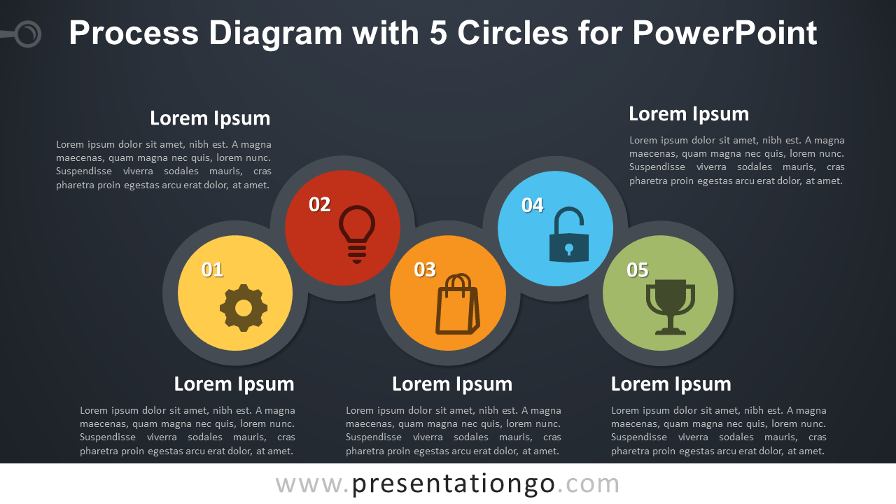 Free Process with 5 Circles for PowerPoint - Dark Background