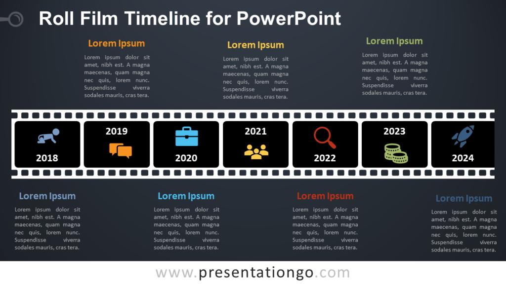 Free Roll Film Timeline Diagram for PowerPoint - Dark Background
