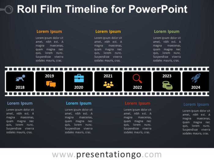 Free Roll Film Timeline for PowerPoint - Dark Background