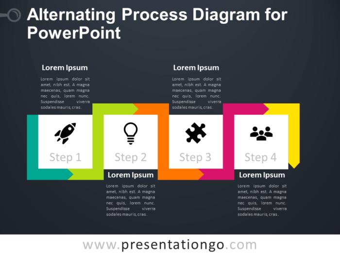 Free Alternating Process Diagram for PowerPoint - Dark Background