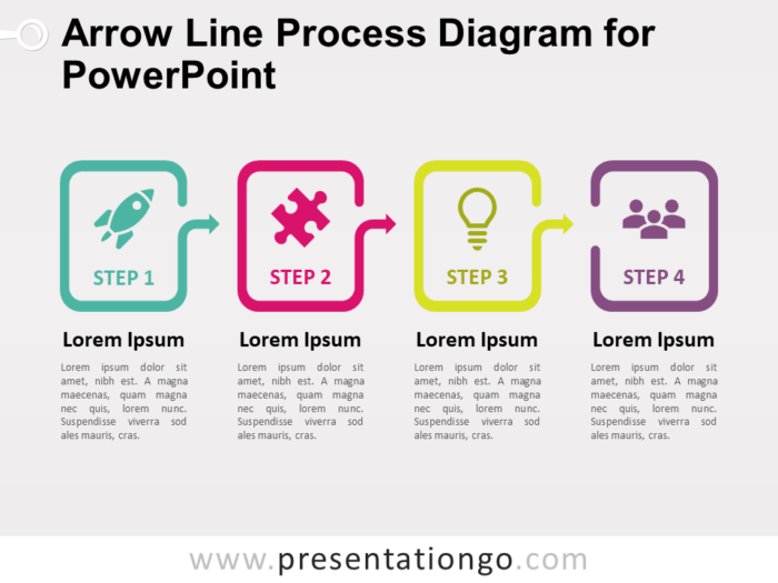 Free Arrow Line Process Diagram for PowerPoint