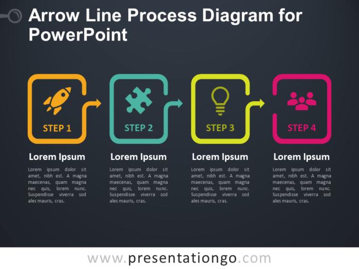 Free Arrow Line Process Diagram for PowerPoint - Dark Background