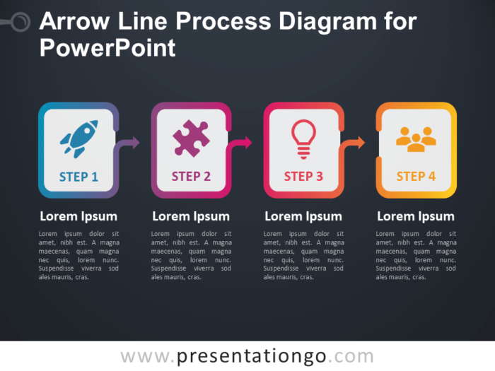 Free Arrow Line Process Diagram for PowerPoint (Gradient) - Dark Background