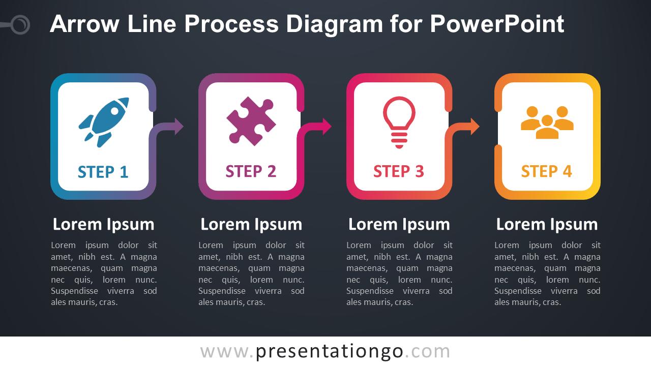 Free Arrow Line Process for PowerPoint (Gradient) - Dark Background