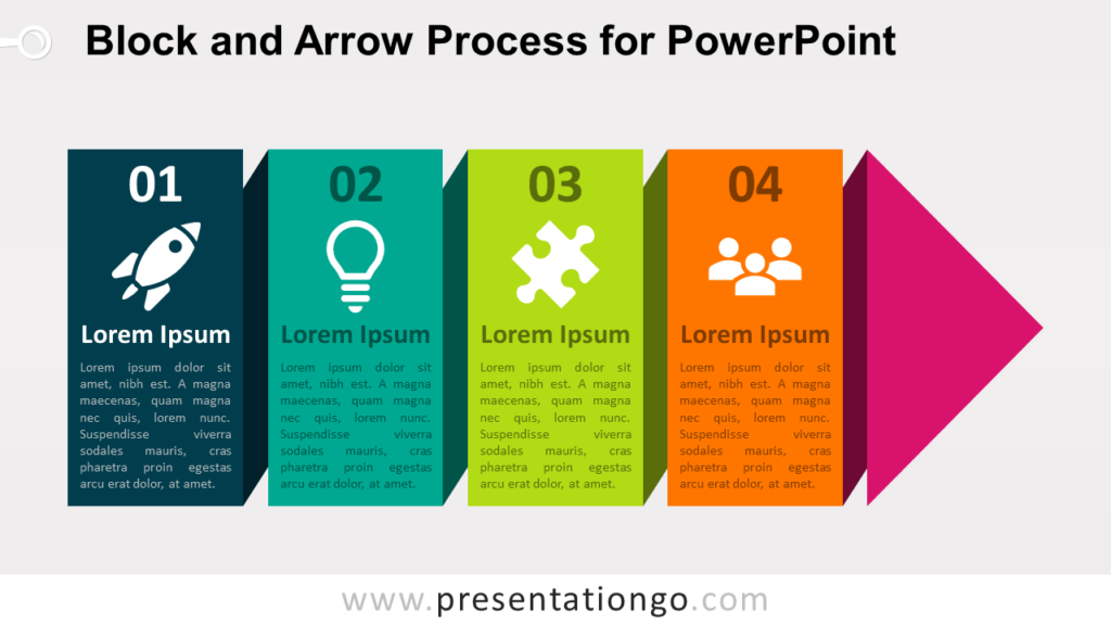 Free Continuous Block Arrow Process for PowerPoint