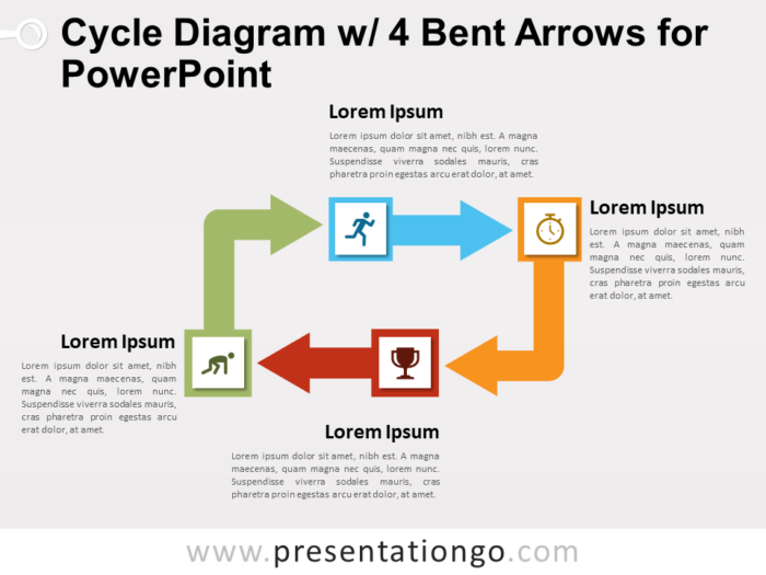 Free Cycle Diagram with 4 Bent Arrows for PowerPoint