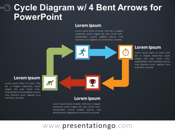 Free Cycle Diagram with 4 Bent Arrows for PowerPoint - Dark Background