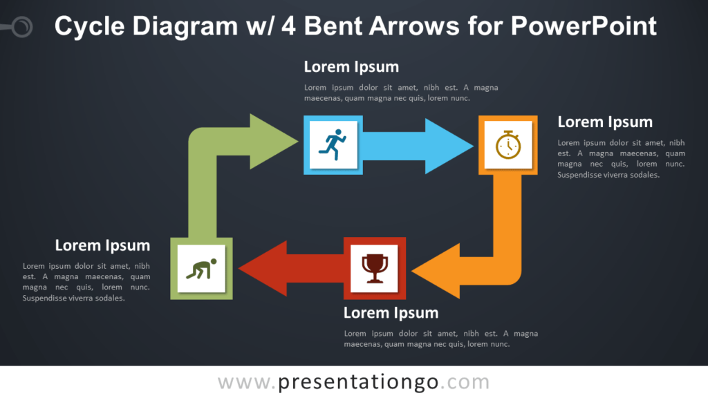 Free Cycle Diagram with Four Bent Arrows for PowerPoint - Dark Background