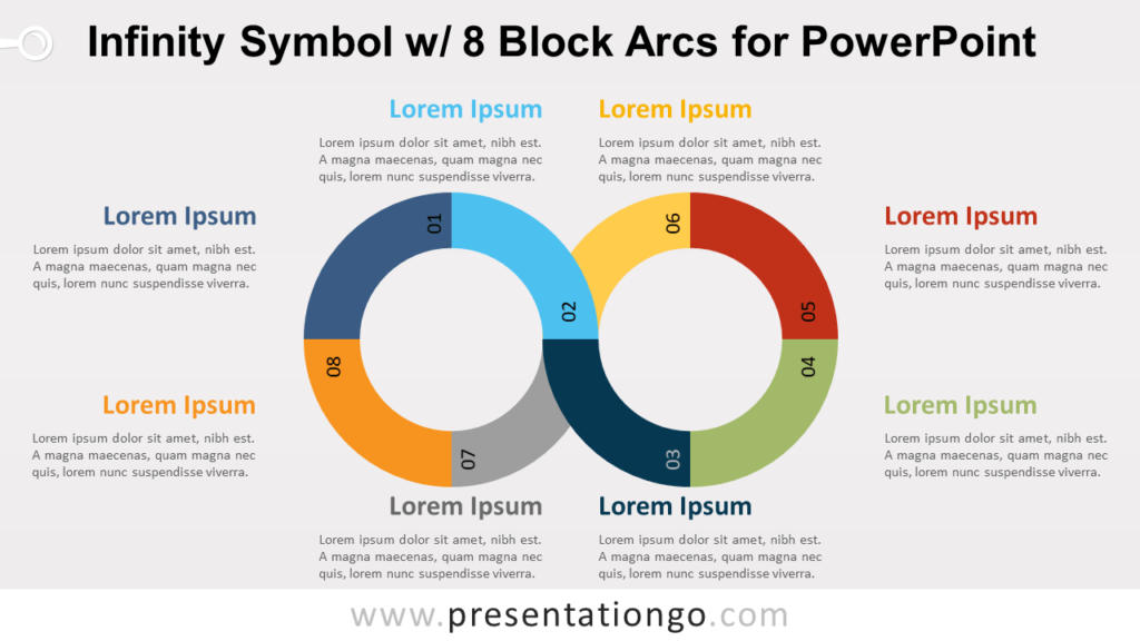 Free Infinity Symbol Diagram with Eight Block Arcs for PowerPoint