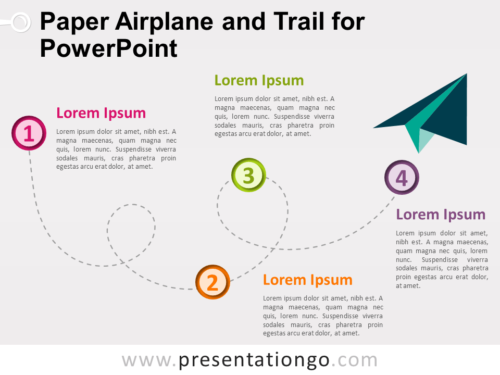 Free Paper Airplane and Trail for PowerPoint