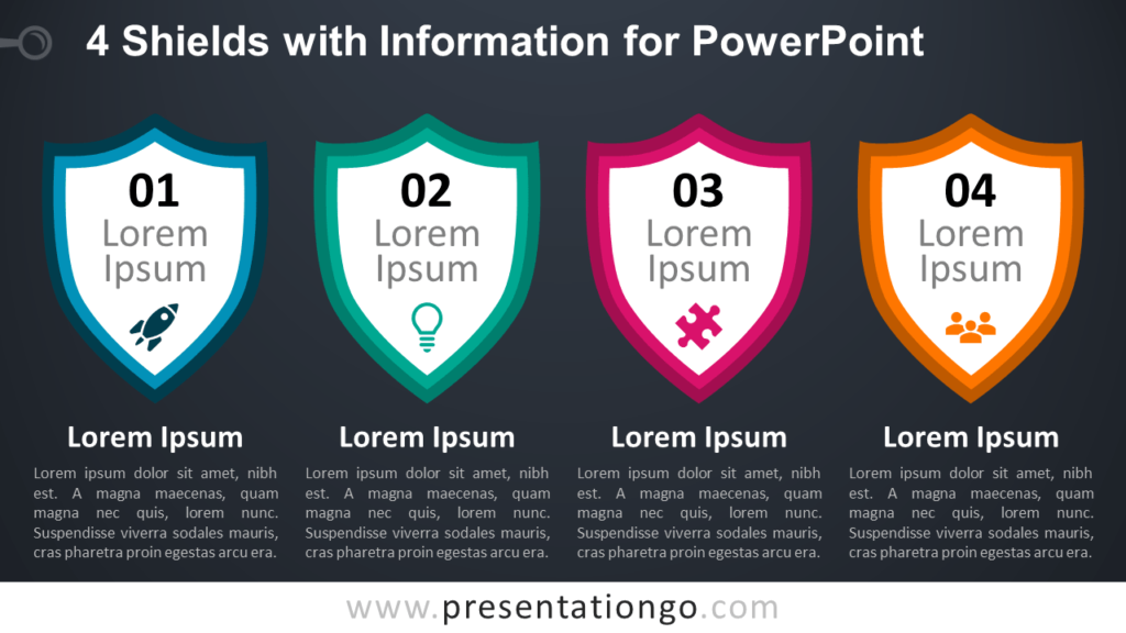 Free 4 Shields with Information for PowerPoint Template - Dark Background