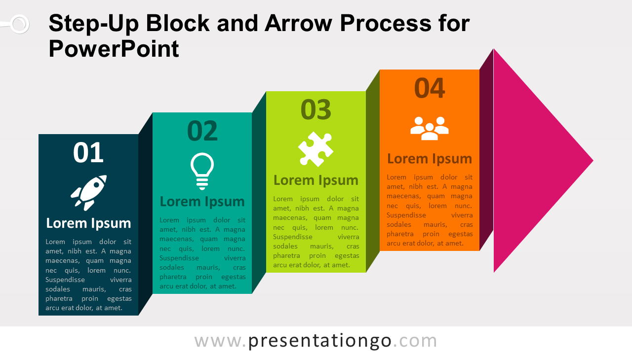 Free Step-Up Block Arrow Process Diagram for PowerPoint