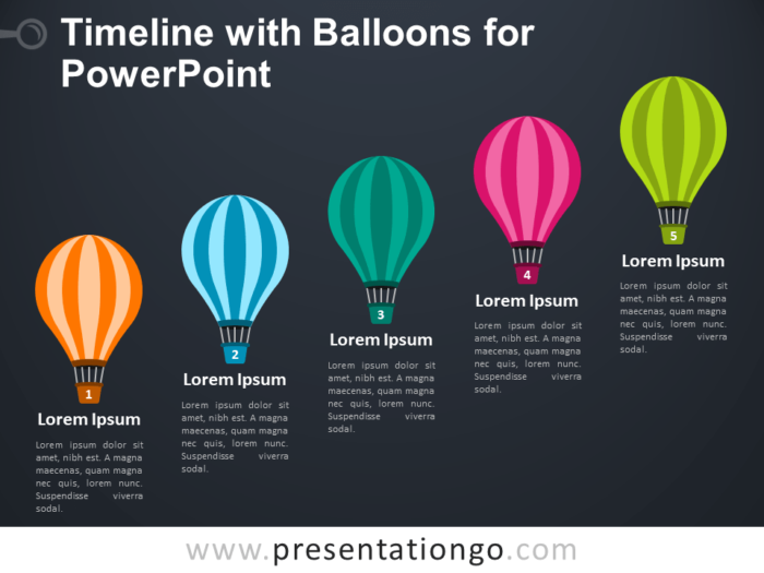 Free Timeline with Balloons for PowerPoint - Dark Background
