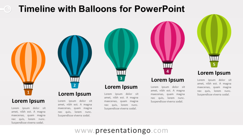 Timeline with Balloons PowerPoint Template
