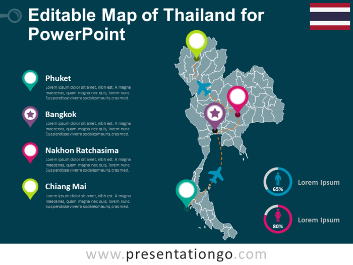Free Editable Map of Thailand for PowerPoint