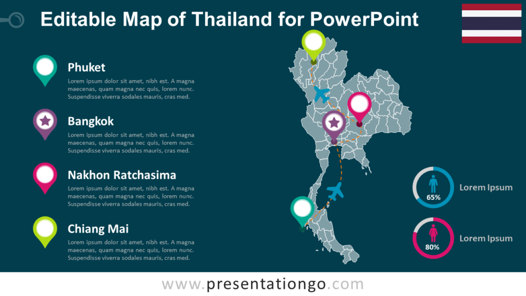 Free Editable Thailand Map for PowerPoint