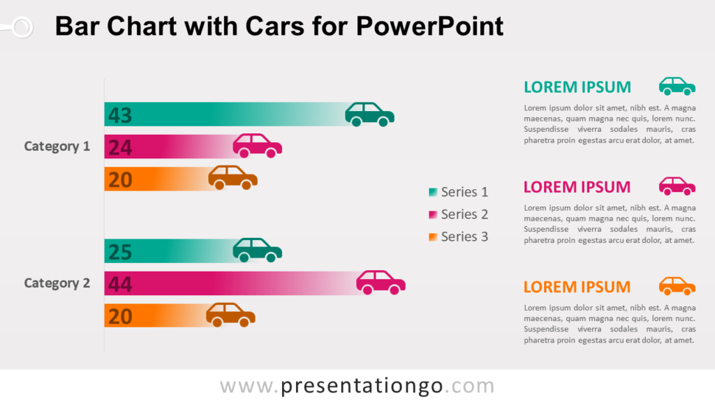 Free Horizontal Bar Chart with Cars for PowerPoint