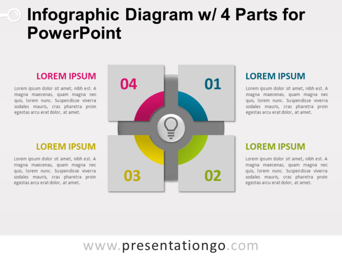 Free Infographic Diagram with 4 Parts for PowerPoint - Slide 1