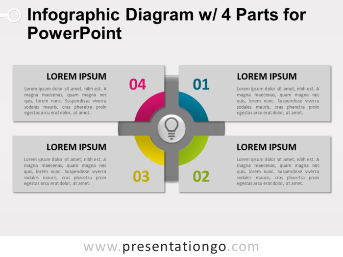 Free Infographic Diagram with 4 Parts for PowerPoint - Slide 2