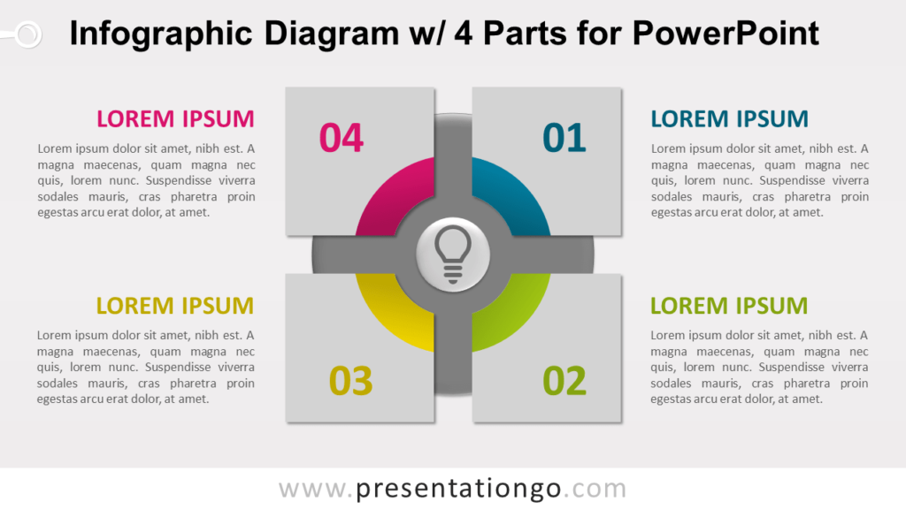 Free Infographic Diagram with 4 Parts PowerPoint Template - Slide 1