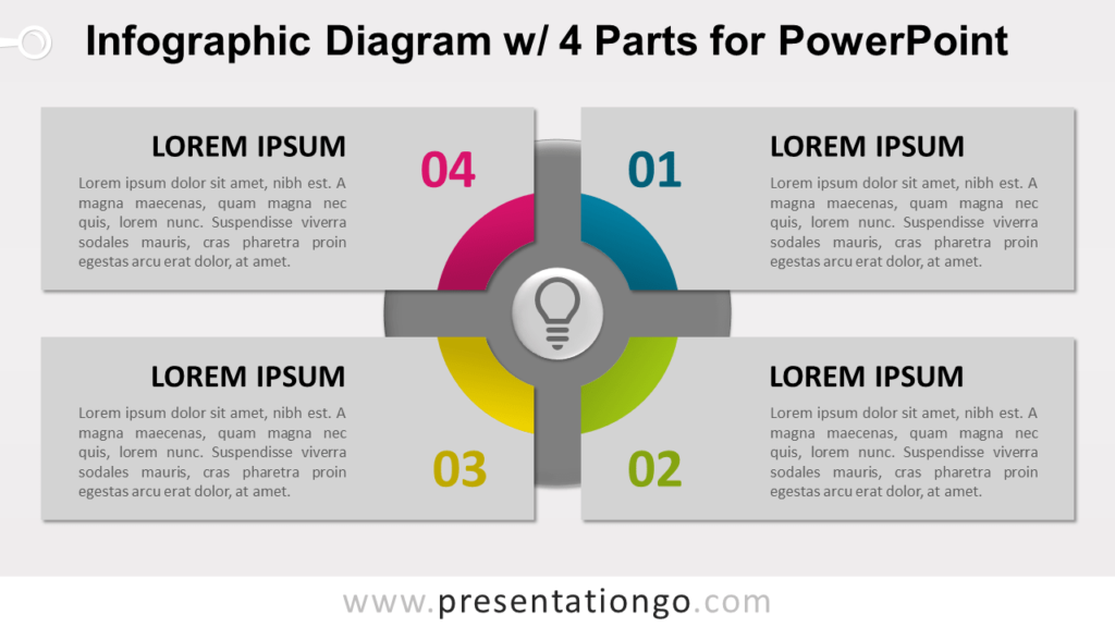 Free Infographic Diagram with 4 Parts PowerPoint Template - Slide 2