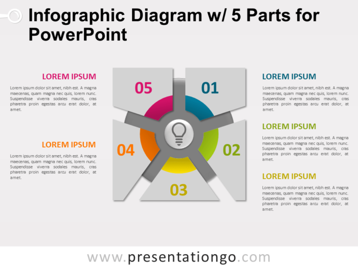 Free Infographic Diagram with 5 Parts for PowerPoint - Slide 1