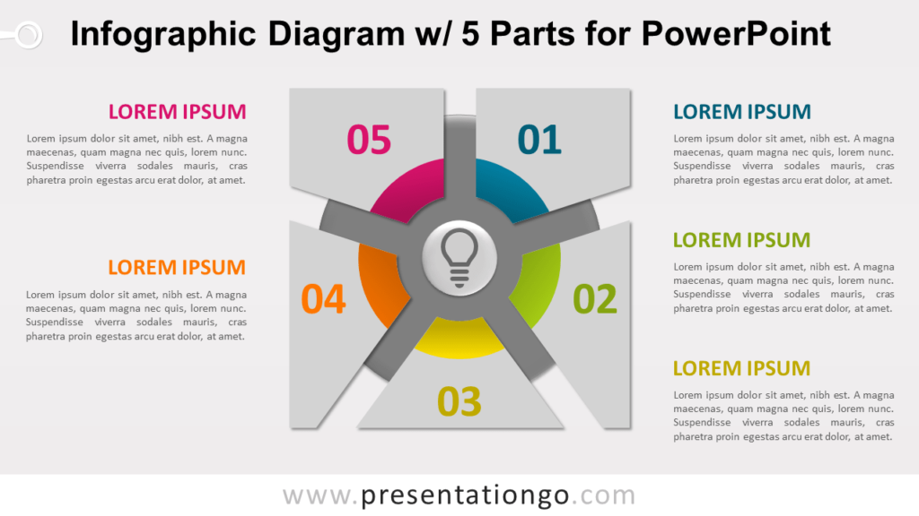 Free Infographic Diagram with 5 Parts PowerPoint Template - Slide 1