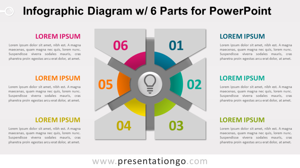 Free Infographic Diagram 6 Parts PowerPoint Template - Slide 1