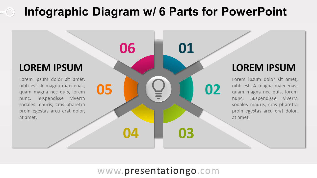 Free Infographic Diagram 6 Parts PowerPoint Template - Slide 2
