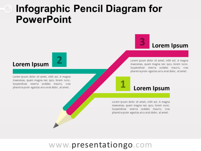 Free Infographic Pencil Diagram for PowerPoint - Colored Version