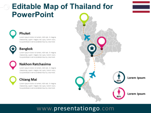 Free Map of Thailand for PowerPoint